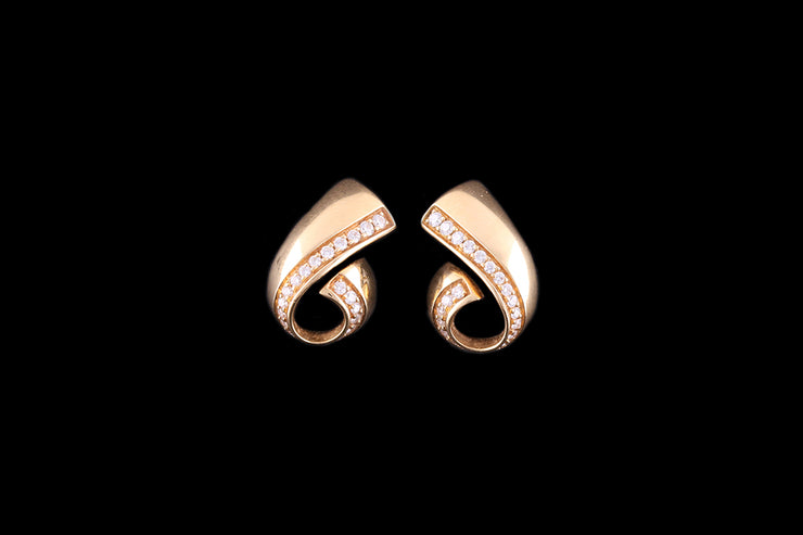 De Beers 18ct Yellow Gold Diamond Twist Earrings