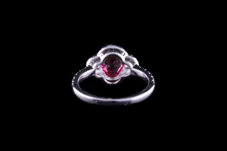 18 ct White Gold Diamond and Ruby Cluster Ring