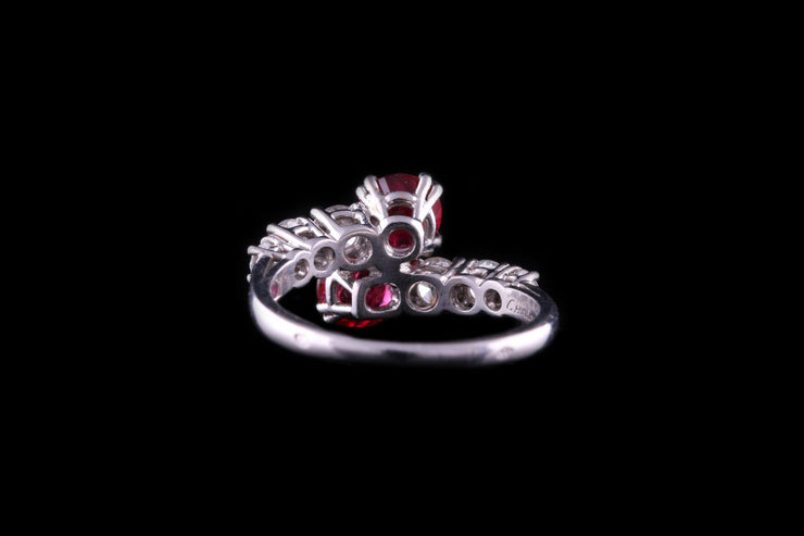 Platinum Diamond and Ruby Two Stone Crossover Ring