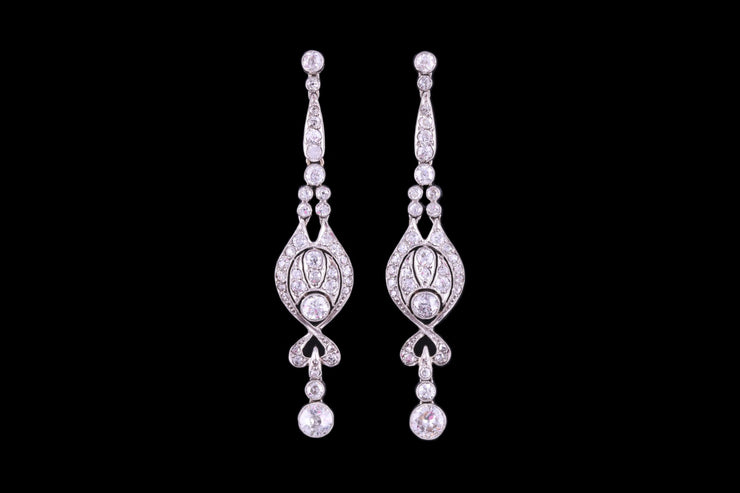 Art Deco Platinum Diamond Drop Earrings