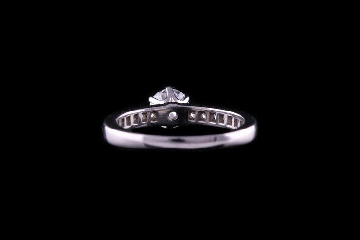 Tiffany & Co Platinum Diamond Single Stone Ring with Diamond Shoulders