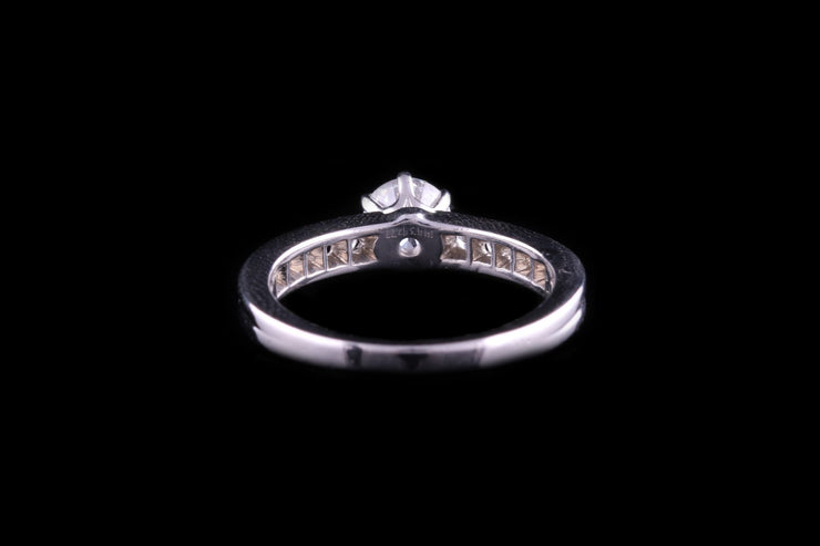 Tiffany & Co Platinum Diamond Ring with Diamond Shoulders