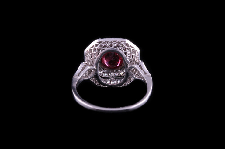 18ct White Gold Diamond and Ruby Target Cluster Rings