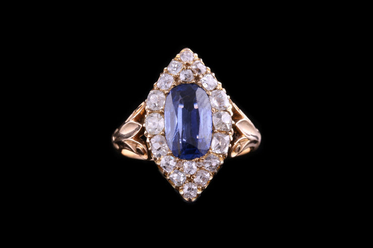 Victorian 18ct Yellow Gold Sapphire and Diamond Dress Ring
