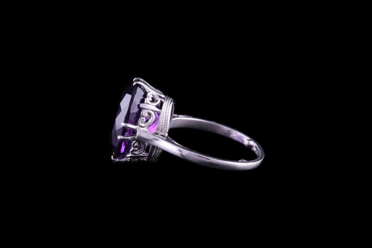 18ct White Gold Amethyst Single Stone Dress Ring