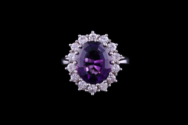 18ct White Gold Diamond and Amethyst Cluster Ring