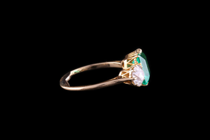 18 ct Yellow Gold Diamond and Emerald Three Stone Ring