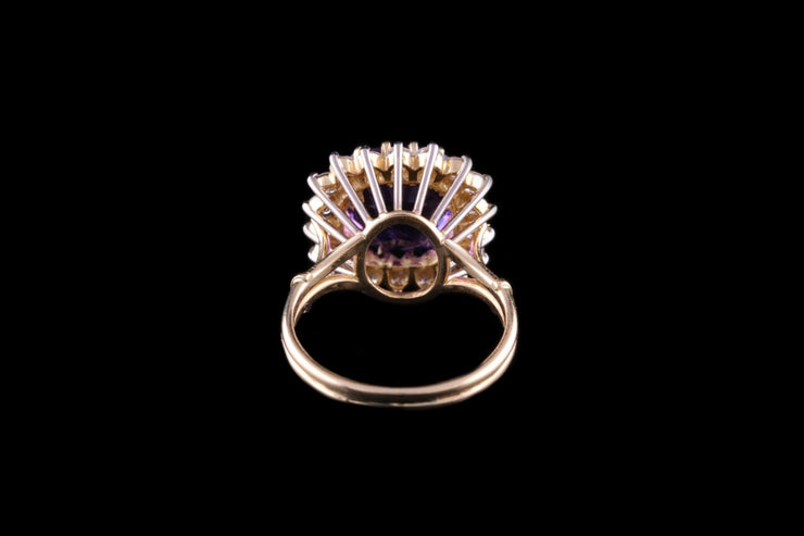 18ct Yellow Gold Diamond and Amethyst Cluster Ring