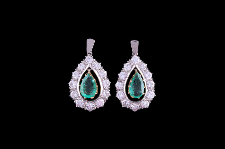 Platinum Diamond and Emerald Cluster Drop Earrings