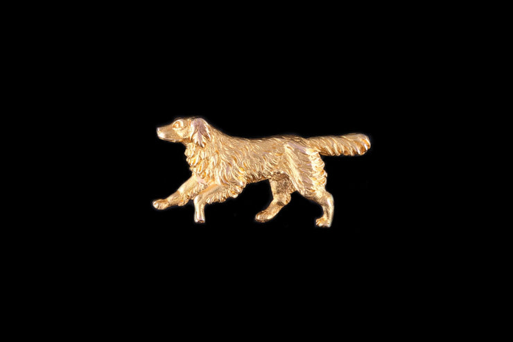 18ct Yellow Gold Dog Brooch