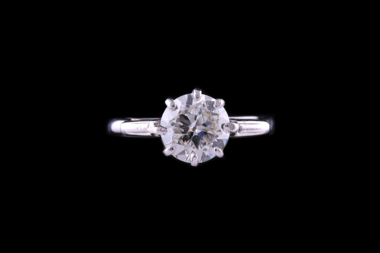 18ct White Gold Diamond Single Stone Ring with Engraved Baguette Shoulders