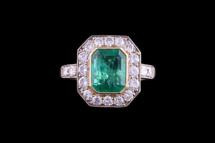 18ct Yellow Gold Diamond and Colombian Emerald Dress Ring