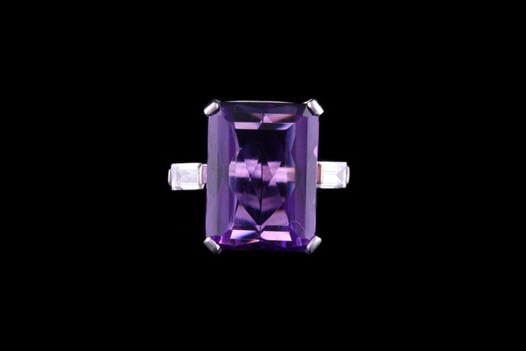 Platinum Amethyst and Diamond Dress Ring