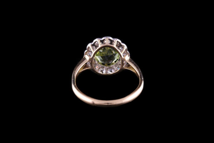 18ct Yellow Gold Diamond and Peridot Cluster Ring