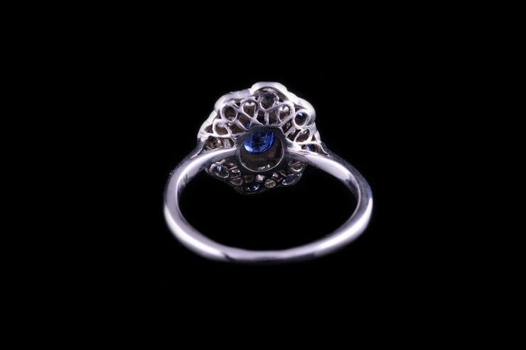 Art Deco 18 ct White Gold Diamond and Sapphire Dress Ring