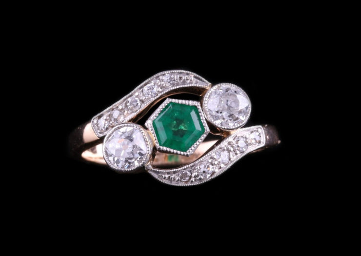 14ct Rose Gold Diamond and Emerald Twist Ring
