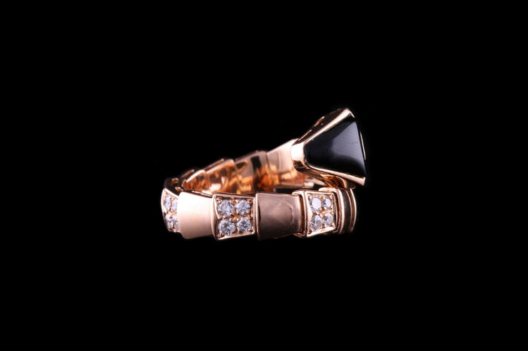 Bvlgari 18ct Rose Gold Diamond and Onyx Ring