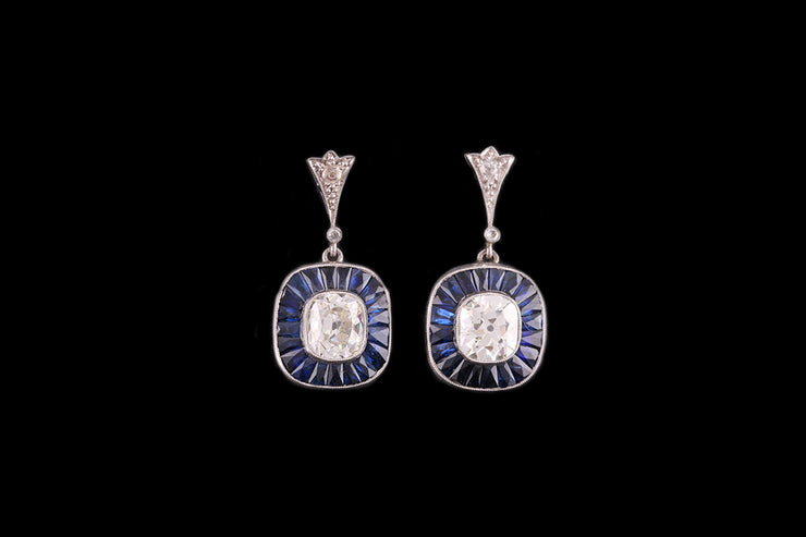 18 ct White Gold Diamond and Sapphire Target Drop Earrings