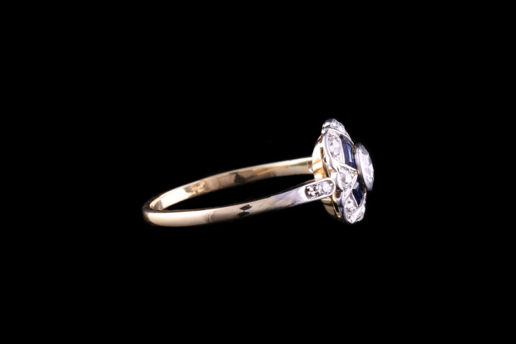18 ct Yellow Gold and Platinum Sapphire and Diamond Dress Ring