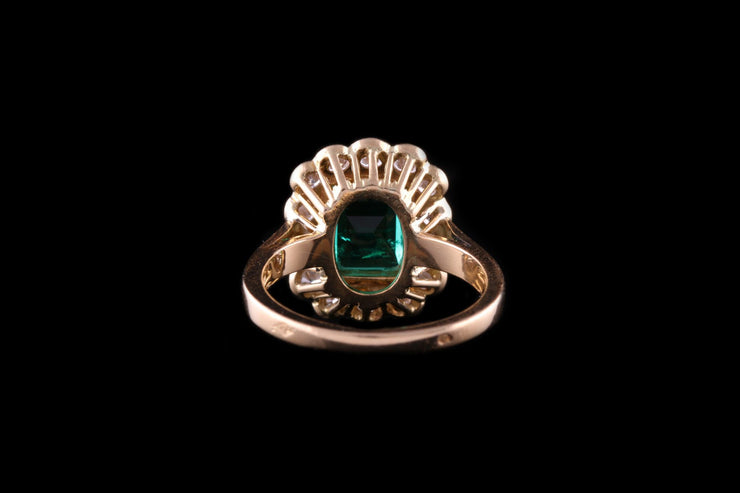 18ct Yellow Gold Rectangular Colombian Emerald and Diamond Cluster Ring