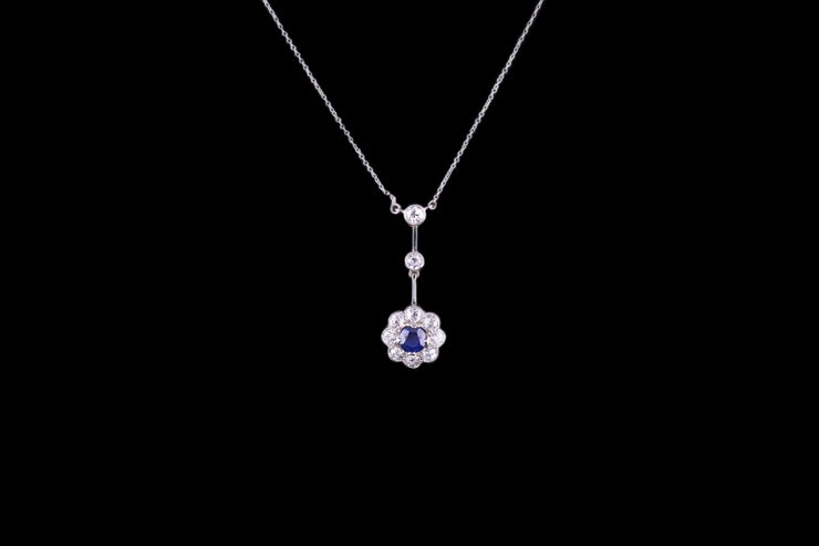 Art Deco 18ct White Gold Diamond and Sapphire Cluster Drop Pendant