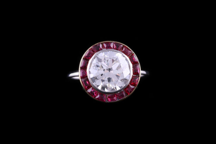 Art Deco Platinum Diamond and Ruby Target Dress Ring