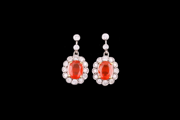 18 ct White Gold Diamond and Fire Opal Cluster Drop Earrings