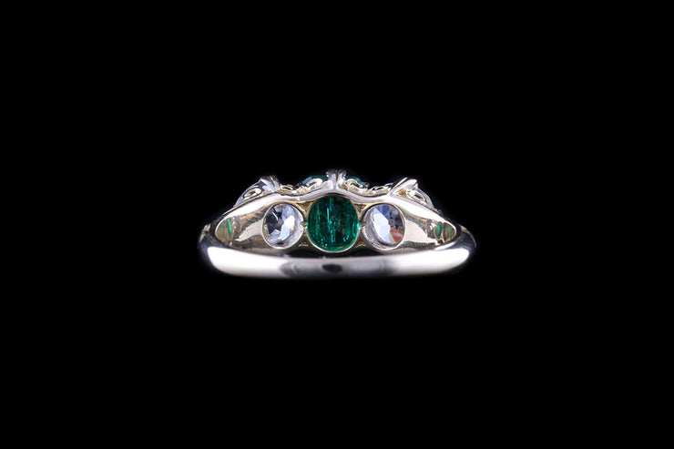 18ct Yellow Gold Diamond and Emerald Three Stone Ring