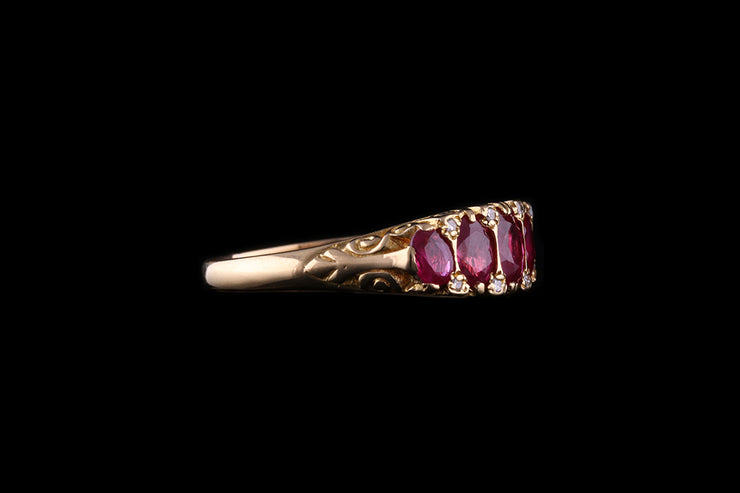 18ct Yellow Gold Ruby Five Stone Ring