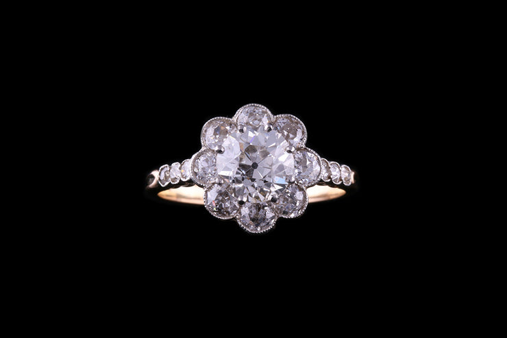 Edwardian 18 ct Yellow Gold Diamond Floral Cluster Ring