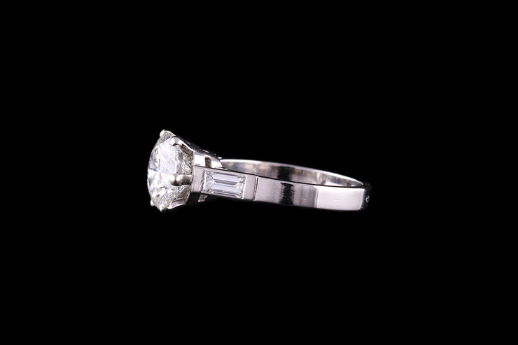 French Platinum Diamond Single Stone Ring with Baguette Shoulders