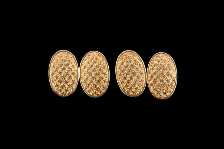 Victorian 18ct Yellow Gold Hand Engraved Cufflinks