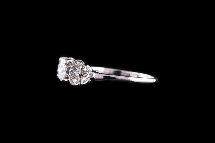 Platinum Diamond Single Stone Ring with Floral Shoulders