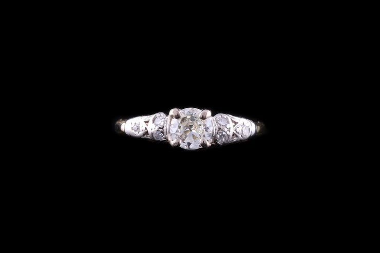 Edwardian 18ct Yellow Gold Diamond Ring with Diamond Shoulders