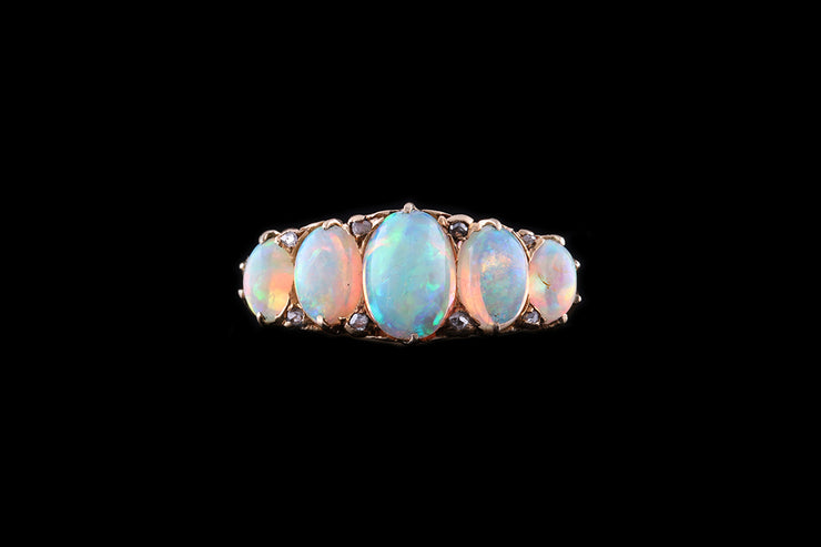 Victorian 18ct Yellow Gold Opal Five Stone Ring