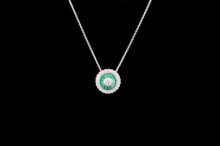 18ct White Gold Emerald and Diamond Target Style Pendant