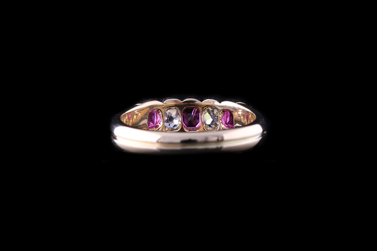 Edwardian 18ct Yellow Gold Diamond and Ruby Five Stone Ring