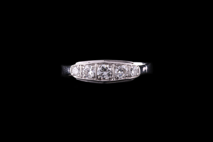 Art Deco 18 ct White Gold Diamond Five Stone Ring