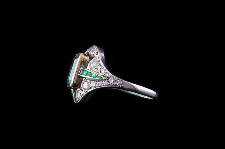 Edwardian Platinum Diamond and Emerald Dress Ring
