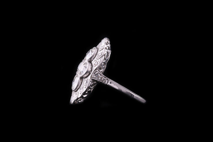 Platinum Diamond Marquise Shaped Dress Ring