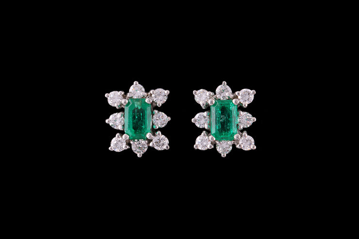 18ct White Gold Emerald and Diamond Cluster Stud Earrings