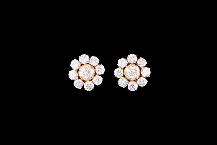 18ct Yellow Gold Diamond Cluster Stud Earrings
