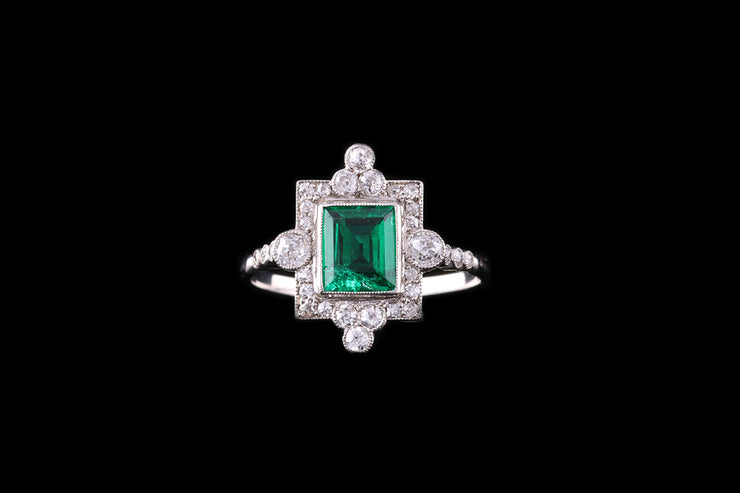 Edwardian Platinum French Emerald and Diamond Dress Ring