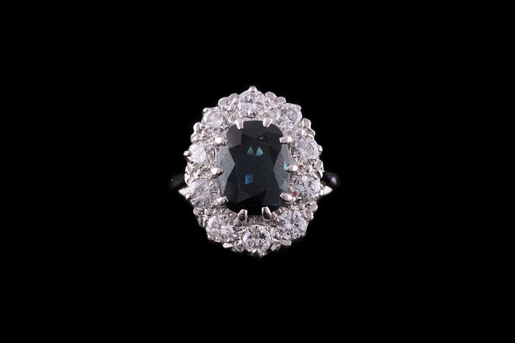 18 ct White Gold Sapphire and Diamond Cluster Ring