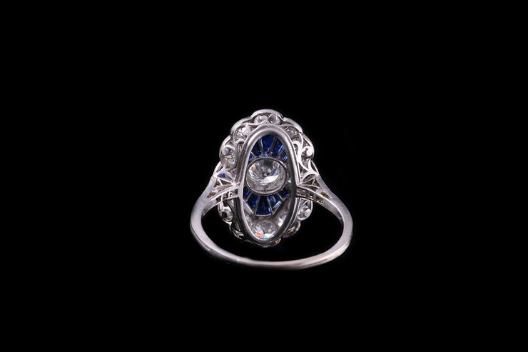 Platinum Diamond and Sapphire Dress Ring