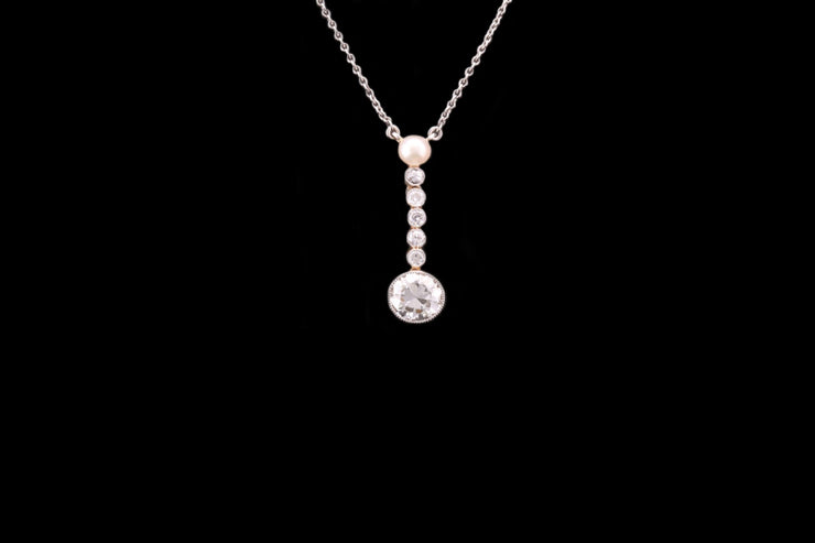 14ct White and Yellow Gold Diamond Drop Pearl Pendant