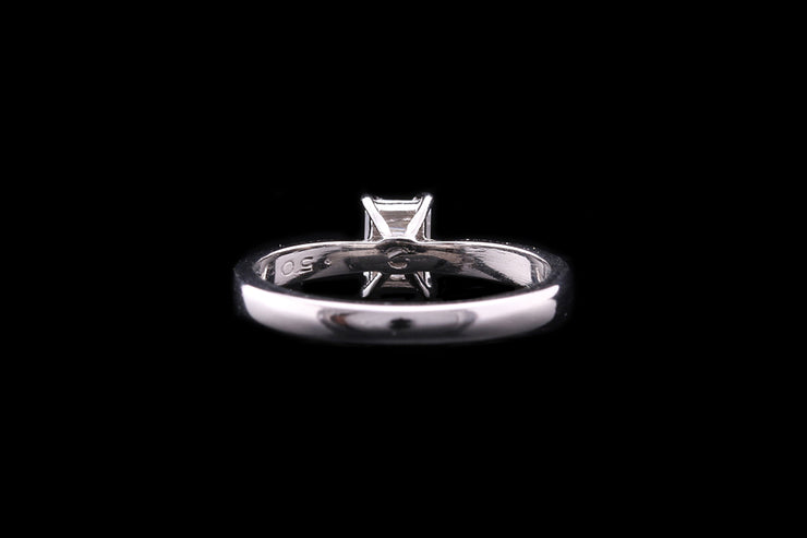 Platinum Emerald Cut Diamond Single Stone Ring