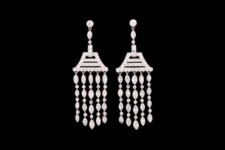 18ct White Gold Diamond Drop Chandelier Drop Earrings