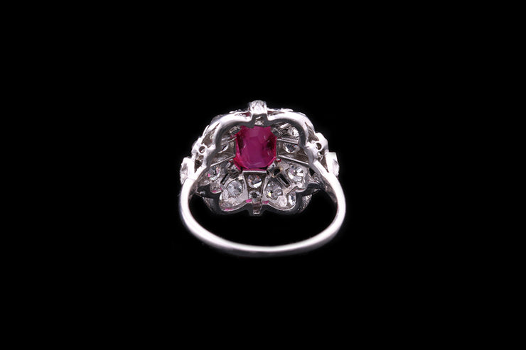 Platinum Ruby and Diamond Dress Ring
