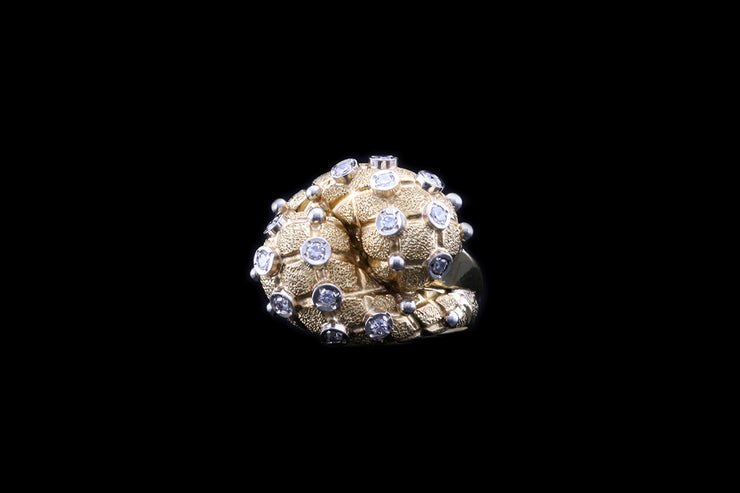 18ct Yellow Gold Twist Bombe Ring